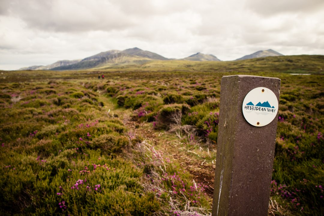 A Heb Way marker post on South Uist - Solo walking the Hebridean Way, photo by Kathi Kamleitner