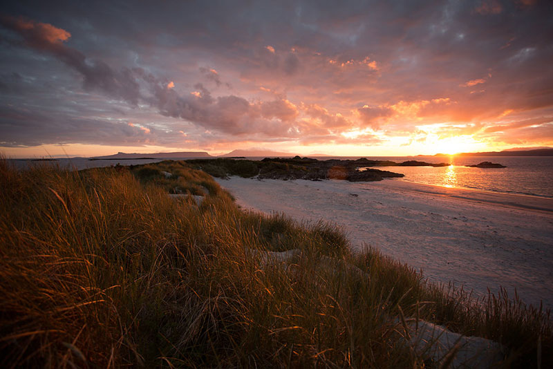 Camusdarach beach at sunset