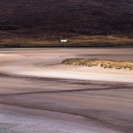 Christopher Swan: Harris in the Spring - beach with white cottage in the distance