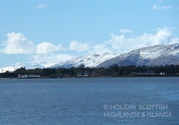 Corran ferry at Ardgour with snow on the hills