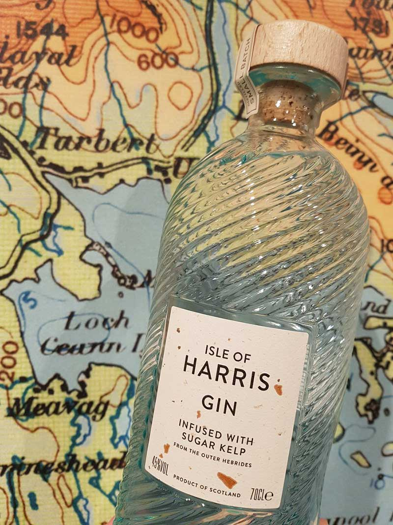 Harris Gin bottle and map