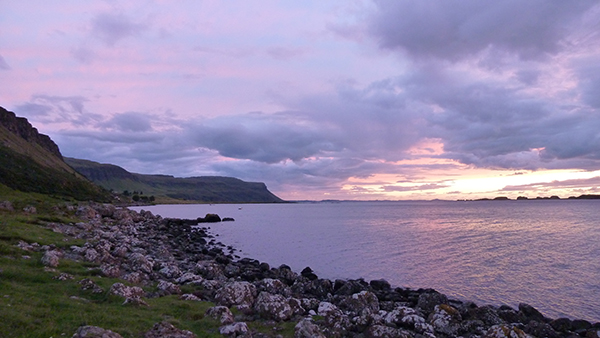 Sumset over Loch na Keal with Iona in the distance