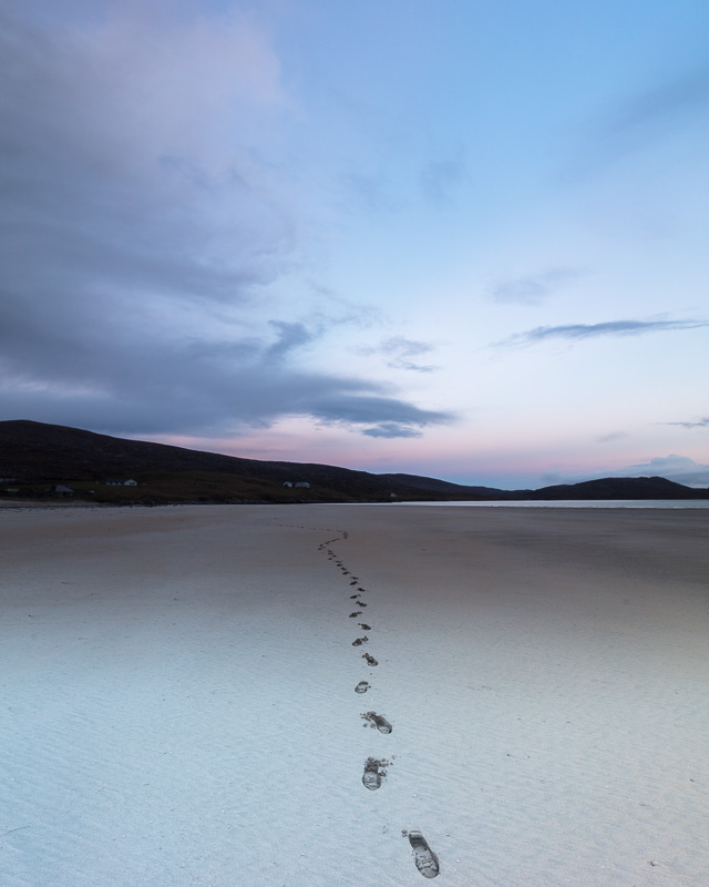 Path Least Travelled - Footprints on the white sands of Luskentyre on the Isle of Harris at sunset.
