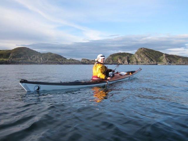 Sea kayaking Scotland - Alice paddling near the Garvellachs Oban - Sea Kayak Alice