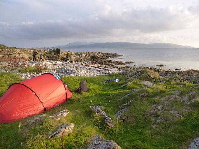 Sea kayaking Scotland - Wild camping overlooking Arran