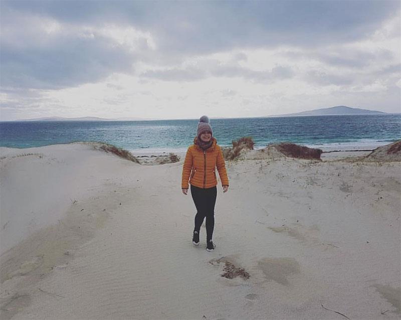 Shona on a white sand beach Harris