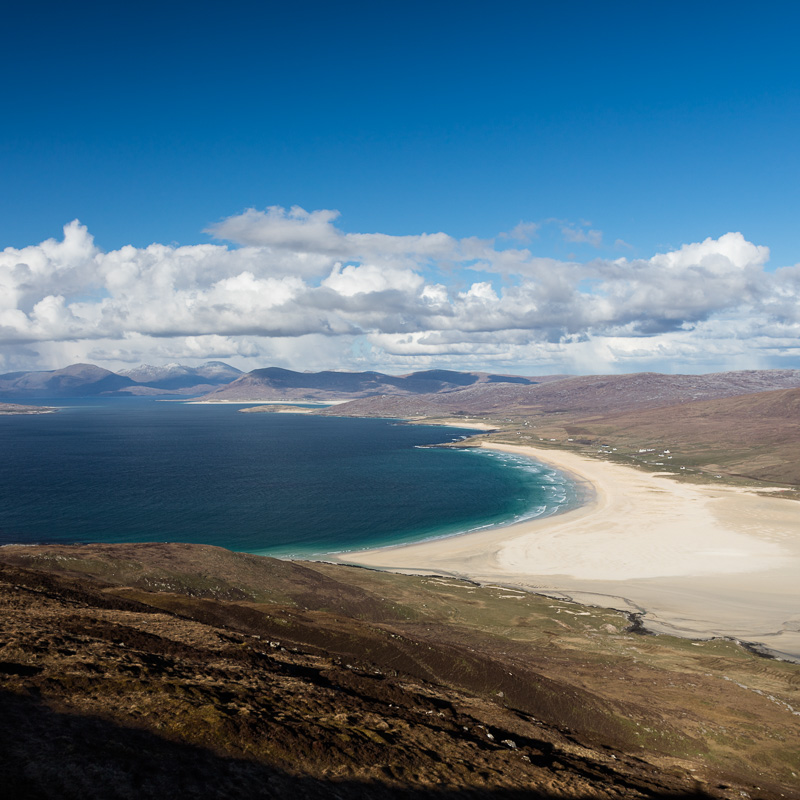 Sound of Taransay -A view over the Sound of Taransay and the west coast of Harris from Ceapabhal on Toe Head. This is a great spot to get a perspective of the stunning beaches of Scarista leading up to Rosamol at Luskentyre, with the partially snow-capped Forest of Harris (North Harris Hills) beyond.