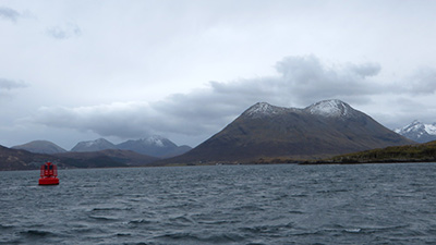 View across the sea to the Cuillins, Isle of Skye