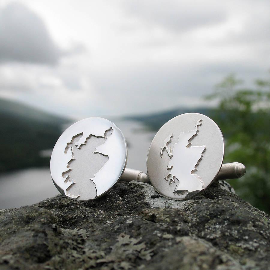 Gifts for men - Scottish coastline sterling silver cufflinks